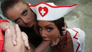 Жестко поимел двух медсестер и облил спермой дырки